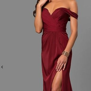 Faviana Long Formal Off-the-Shoulder V-Neck Dress